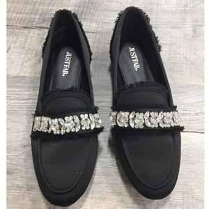 Black Crystal Loafers Just Fab
